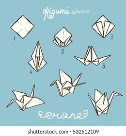 Set of the hand-drawn paper crane and origami scheme