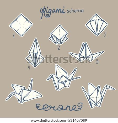 Set Handdrawn Paper Crane Origami Scheme Stock Vector Royalty Free