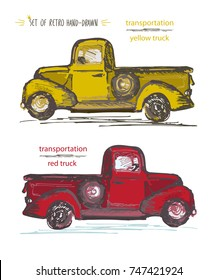 Set of hand-drawn red and yellow trucks. Ink brush sketch. Vector illustration
