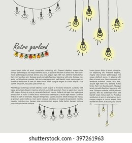 Set of hand-drawn retro garlands. Elements in the style of a sketch. Festoon lights.