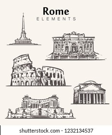 Set of hand-drawn Rome buildings.Rome elements sketch vector illustration.Coliseum,Pantheon,Vittoriano,Trevi Fountain.