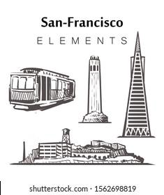 Set of hand-drawn San-Francisco buildings, elements sketch vector illustration. Alcatraz, cable cars, Transamerica building, Coit Tower.