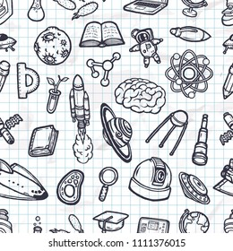 Set of hand-drawn scientific doodles seamless pattern.