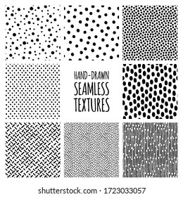 Set of hand-drawn seamless black and white textures with dots, circles, semicircles, lines and dashed strokes. Vector repeat patterns.