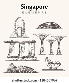Set of hand-drawn Singapore buildings sketch vector illustration.Marina Bay Sands hotel,Gardens by the Bay,Singapore Flyer,museum of art and science and National Stadium.