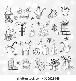 Set of hand-drawn sketchy christmas elements. Doodle sketch vector illustration. Candles, gift boxes, pomanders