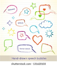 Set of hand-drawn speech bubbles for your design. Vector illustration