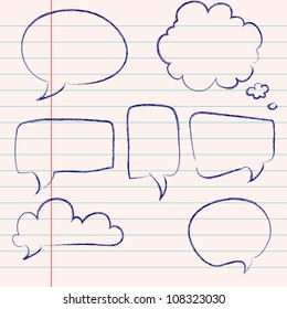 Set of hand-drawn speech and thought bubbles on lined notebook paper background. Vector illustration.