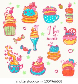 Set of  hand-drawn sweets