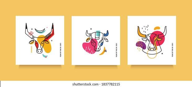 A set of hand-drawn thin line bulls. Modern trends in illustration. Social media cards.
