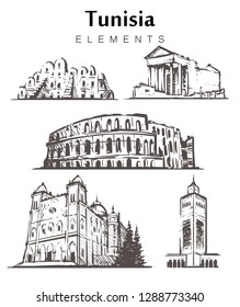 Set of hand-drawn Tunisia buildings. Tunisia elements sketch vector illustration.The amphitheatre at El JEM,Tataouine,The Saint Louis Cathedral,Al-Zaytun mosque.