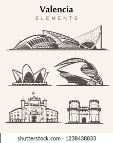 Set of hand-drawn Valencia buildings.Valencia elements sketch vector illustration.City of the Arts and Sciences, Gates Of Serranos, Plaza de Toros.