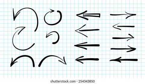 Set of hand-drawn vector arrow doodles signs