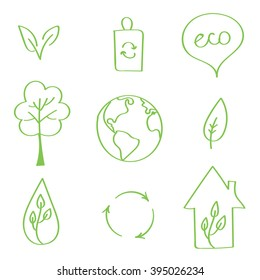 Set of hand-drawn vector eco doodles. Earth day doodles.