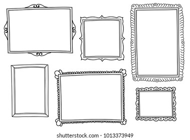 Set of hand-drawn vector frames.