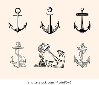 Set of hand-drawn vector one-color anchors. Good for logo development, vinyl, tattoo, etc.