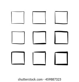 Set of hand-drawn vector squares, abstract designs