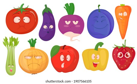 Set of hand-drawn vegetables and fruits in cartoon style, isolated on white background. Food characters with eyes and various emotions. Vector illustration