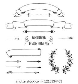 Set of handdrawn vintage elements. Ribbons, arrows, page deviders. Vector illustration for bullet journal, notepad, memobook, scrapbooking, invitations, weddings,holidays, design templates