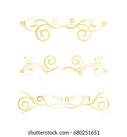Set of hand-drawn vintage golden round frames on white background. Vector elements for wedding, mothers day, birthday card, invitations.