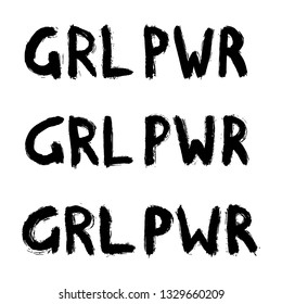"""Set of hand-drawn""""GRL PWR (or """"Girl power"""") quotes isolated on white background. Rough graffiti shapes. Doodle style abstract ink grunge texture. Logo vector collection."""