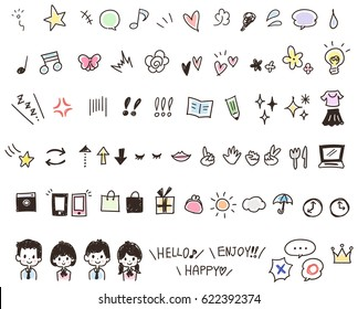 Set of hand-drawn-style icons