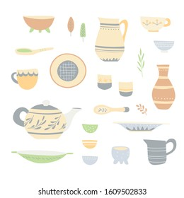 Set of handicraft dishes: bowls, cups, jugs, a teapot and etc.  Simple handmade patterns