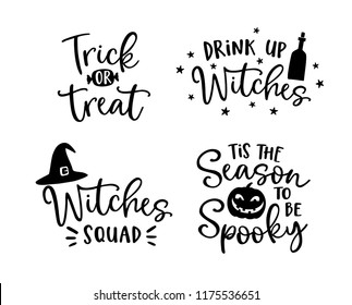 Set of handlettered Halloween phrases. Spooky auumn quotes with witches hat and scary pumpkin silhouette. Party lettering, calligraphy. Fall vector illustrations.