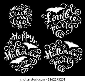 Set of handlettering phrases for Happy Halloween party, zombie party,trick or treat. Vector illustration
