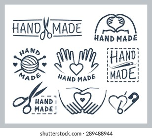 Set of handmade badges, labels, icons and logo elements