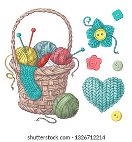 Set for handmade basket with balls of yarn, elements and accessories for crochet and knitting.