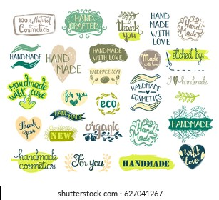 Set of handmade, craft and art labels, tags with lettering. Vector.