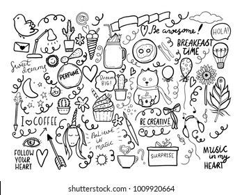 Set of handmade doodles with motivaton lettering. Vector outline illustartion, ideal fordesign of bullet journal, blog, web site etc.