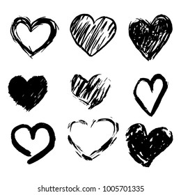 Set of Handmade Drawn Hearts in Doodle Style Marker and Brush