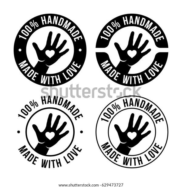Set of handmade emblem, badges, labels and logo elements, retro symbols for local shop, company or handmade artist. Sign with hand. 100 percent handmade. Made with love. Vector illustration