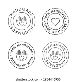 Set of Handmade Emblem Linear Icons. Made with Love label badges vector design. Handcraft signs.