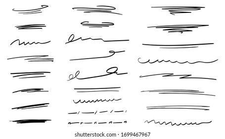 Set of handmade lines, brush lines, underlines. Hand-drawn collection of doodle style various shapes. Lettering Art Lines. Isolated on white. Vector illustration