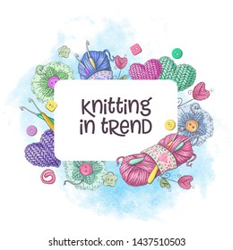 Set for handmade logo template, elements and accessories for crocheting and knitting.