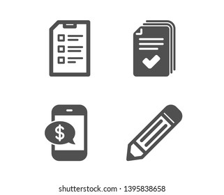 Set of Handout, Phone payment and Checklist icons. Pencil sign. Documents example, Mobile pay, Data list. Edit data.  Classic design handout icon. Flat design. Vector