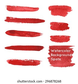 Set of hand-painted brush strokes and spots. Red watercolor stripes isolated on white background. Vector illustration.