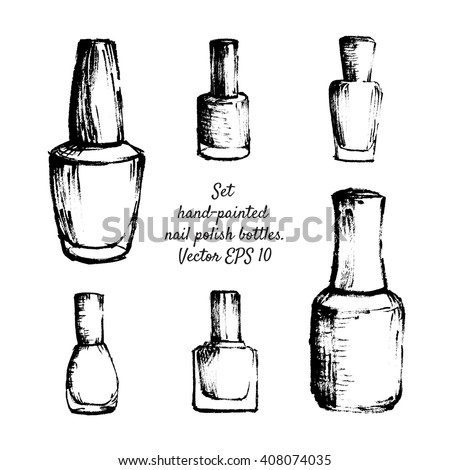 set handpainted nail polish bottles isolated stock vector royalty
