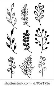 A set of hand-painted twigs and leaves. Doodle Style..