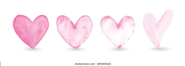 Set of hand-painted watercolor pink heart isolated on white background