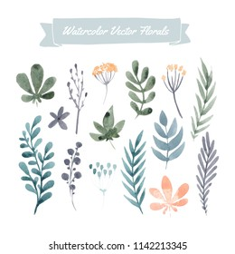 Set of handpainted watercolor vector flowers and leaves.  Perfect floral elements for save the date card. Unique artwork for your design.