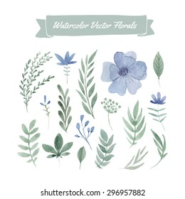 Set of handpainted watercolor vector flowers and leaves.Design element for summer wedding, spring congratulation card. Perfect floral elements for save the date card. Unique artwork for your design.
