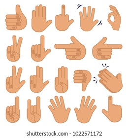 Set of hands. Abstract flat  different gestures. Signals and signs vector emojie