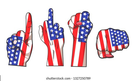 Set of hands with American flag, hand drawn realistic sketch illustration isolated on white background, hand with middle finger, finger up and fists