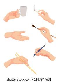 set of hands, with chopsticks ,mug, pencil , brush, vector illustration isolated on white background, cartoon style