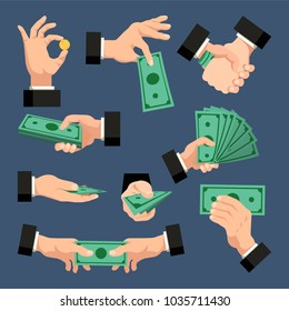 A set of hands with dollars, coins, money on a dark blue background. Finance concept. Vector illustration.
