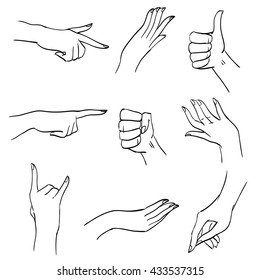 Set of hands and fingers in different positions and gestures, graphic sketch lines and strokes, black and white body part for illustrations, design diagrams and instructions, isolated vector objects